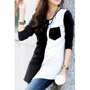 Brief Scoop Neck Color Spliced Long Sleeve T-Shirt For Women -
