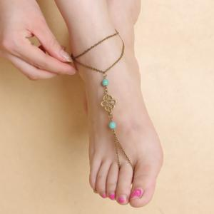 Vintage Fake Turquoise Double Layered Fancy Anklets