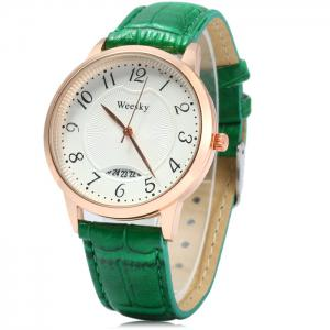Weesky Leather Band Date Display Quartz Watch Golden Case for Women -
