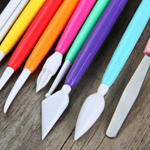 9Pcs Fondant Modeling Color Carving and Knife Tool Cake Decorating Flower Pastry Craft Set -
