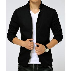 Slimming Stand Collar Zipper Pocket French Front Fabric Spliced Long Sleeves Men's Casual Jacket -