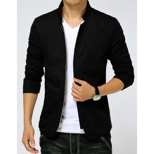 Slimming Stand Collar Zipper Pocket French Front Fabric Spliced Long Sleeves Men's Casual Jacket - BLACK M