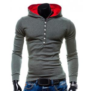 Stylish Hooded Simple Solid Color Buttons Design Slimming Long Sleeve Polyester Hoodie For Men - Gray - 2xl