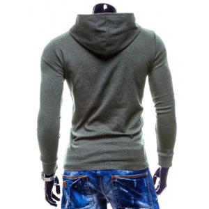Stylish Hooded Simple Solid Color Buttons Design Slimming Long Sleeve Polyester Hoodie For Men - GRAY XL