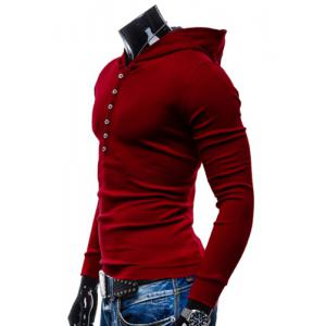 Stylish Hooded Simple Solid Color Buttons Design Slimming Long Sleeve Polyester Hoodie For Men - RED M
