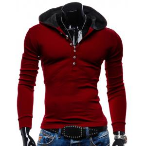Stylish Hooded Simple Solid Color Buttons Design Slimming Long Sleeve Polyester Hoodie For Men - Red - L