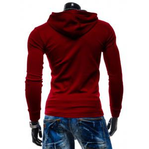 Stylish Hooded Simple Solid Color Buttons Design Slimming Long Sleeve Polyester Hoodie For Men - RED L