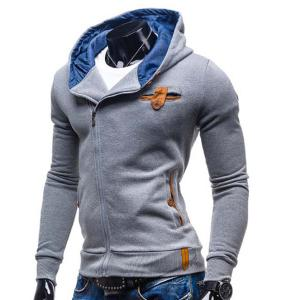 Modish Hooded Patched Splicing Oblique Zipper Slimming Long Sleeve Polyester Hoodie For Men - LIGHT GRAY M
