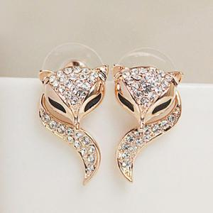 Pair of Cute Rhinestone Fox Shape Design Earrings For Women - Champagne - One-size