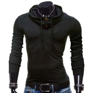 Fashion Piles Collar Solid Color Button Design Slimming Long Sleeve Polyester T-Shirt For Men - Black - L