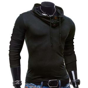 Fashion Piles Collar Solid Color Button Design Slimming Long Sleeve Polyester T-Shirt For Men - BLACK L