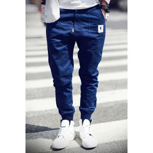 Rib Cuffs Ethnic Applique Slimming Jogger Pants - Deep Blue - M