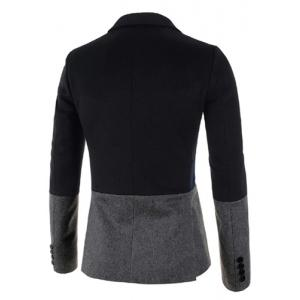 Trendy Lapel Multicolor Splicing Slimming Long Sleeve Cotton Blend Blazer For Men - GRAY M