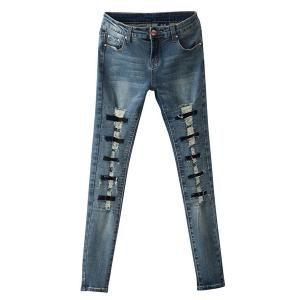 Street Style Broken Hole Frayed Jeans For Women -
