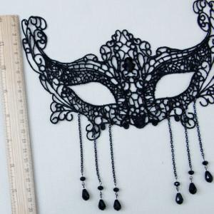 Sexy Hollow Out Lace Waterdrop Tassels Mask For Women - BLACK