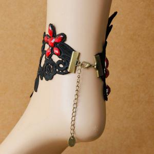 Lace Flower Faux Crystal Flower Anklet -