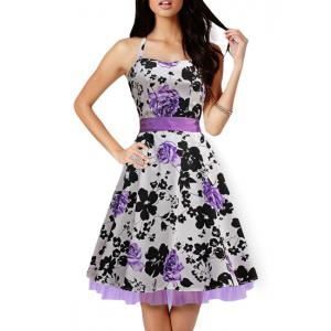 Retro Style Sweetheart Neck Sleeveless Floral Print Self-Tie Women's Dress