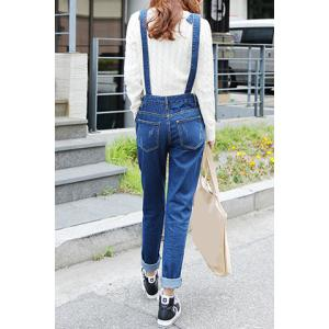 Preppy Style Solid Color Denim Women's Overalls -