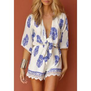 Sexy Plunging Neck Leaf Printed Half Sleeve Romper For Women