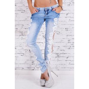 Lace Insert Skinny Cigarette Jeans - Light Blue - Xl