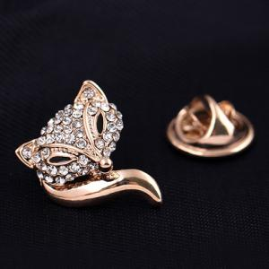 Inlaid Rhinestone Fox Brooch -