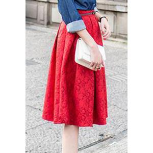 Retro Style Embossed High-Waisted A-Line Skirt For Women -