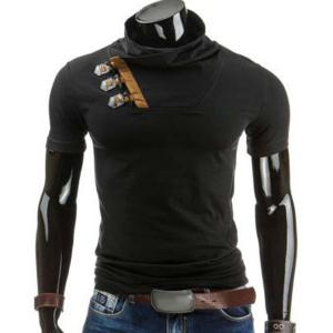 Trendy Slimming Cowl Neck Color Block Horn Button Short Sleeve Polyester T-Shirt For Men