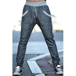 Slimming Stylish Lace-Up Color Block Splicing Beam Feet Polyester Men's Sweatpants