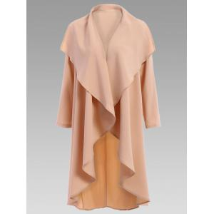 Stylish Turn-Down Collar Solid Color Long Sleeves Coat For Women - Apricot - L