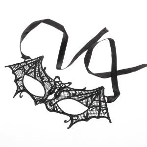 Fashion Elegant Hollow Out Lace Design Bat Mask for Halloween Masquerades Party - BLACK