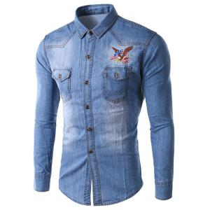 Trendy Slimming Shirt Collar Eagle Embroidered Long Sleeve Denim Jacket For Men - Light Blue - L