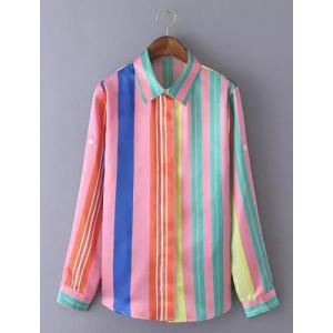Endearing Colorful Printed Long Sleeve Chiffon Shirt For Women - COLORMIX L
