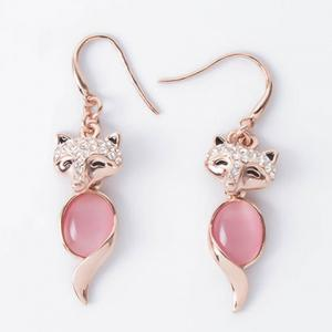 Chic Rhinestone and Faux Opal Decorated Fox Shape Pendant Necklace and A Pair of Earrings For Women - ROSE GOLD