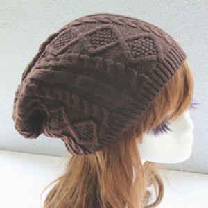 Chic Rhombus and Hemp Flower Jacquard Knitted Beanie For Women -