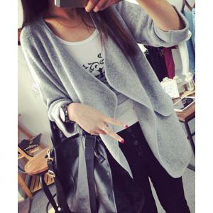 Simple Collarless Long Sleeve Pure Color Pocket Design Women's Cardigan - Gray - One Size(fit Size Xs To M)