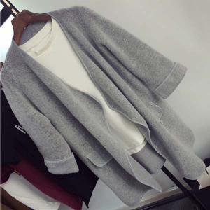 Simple Collarless Long Sleeve Pure Color Pocket Design Women's Cardigan -
