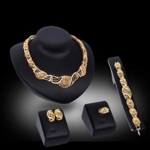 Rhinestone Inlaid Hollow Out Jewelry Set - GOLDEN