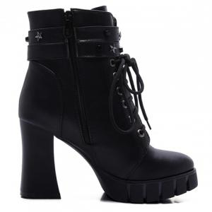 Punk Style Pentagram and Lace-Up Design Women's Boots -