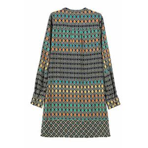 Fashionable V Neck Colorful Round Pattern Long Sleeve Dress For Women - COLORMIX S