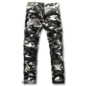 Slimming Fashion Camo Pattern Multi-Pocket Straight Leg Men's Cotton Blend Cargo Pants