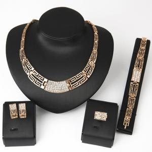 Chic Rhinestone Hollow Out Women's Necklace Bracelet Ring and A Pair of Earrings - Golden - 37