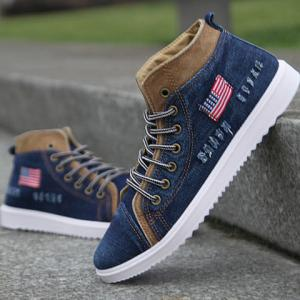 Retro Denim and Flag Design Men's Casual Shoes -