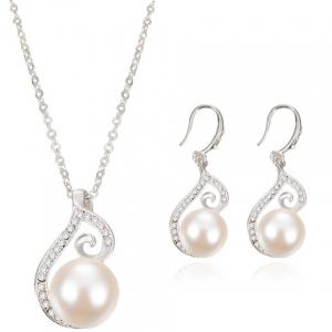 A Suit of Rhinestone Faux Pearl Necklace and Earrings - Silver - M