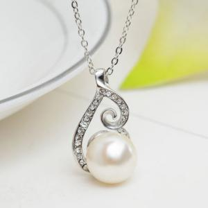 A Suit of Rhinestone Faux Pearl Necklace and Earrings - SILVER