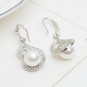 A Suit of Rhinestone Faux Pearl Necklace and Earrings -