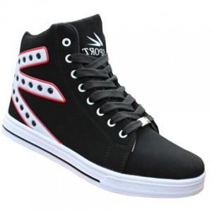 Rivets High Top Canvas Sneakers - White - 44