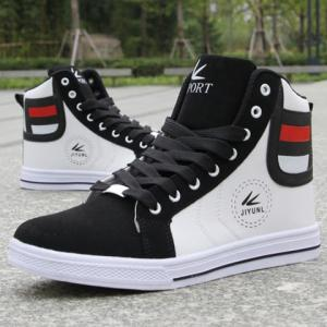Trendy High-Top and Color Block Design Men's Casual Shoes - WHITE 41
