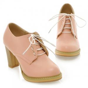 Sweet Solid Colour and Chunky Heel Design Women's Pumps -