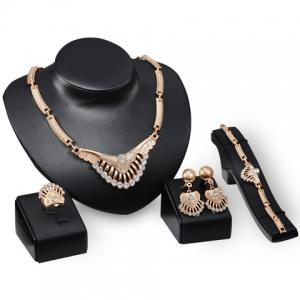Delicate Rhinestone Necklace Bracelet Ring and A Pair of Earrings For Women -