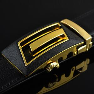 Chic High-Quality Double-Deck PU Leather Alloy Automatic Hollow Out Buckle Belt For Men -